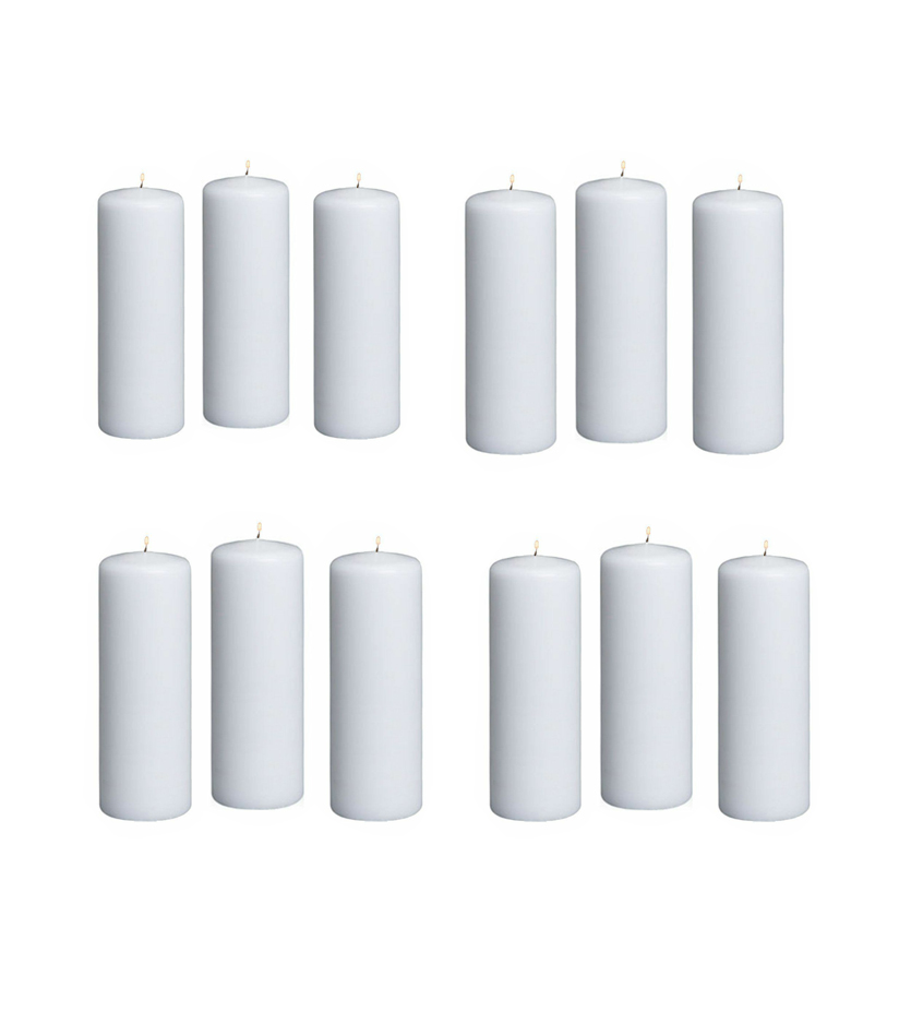 "12pc White Pillar Unscented Candles 2 x 6/"" Home Decor Wedding Table Decorations"