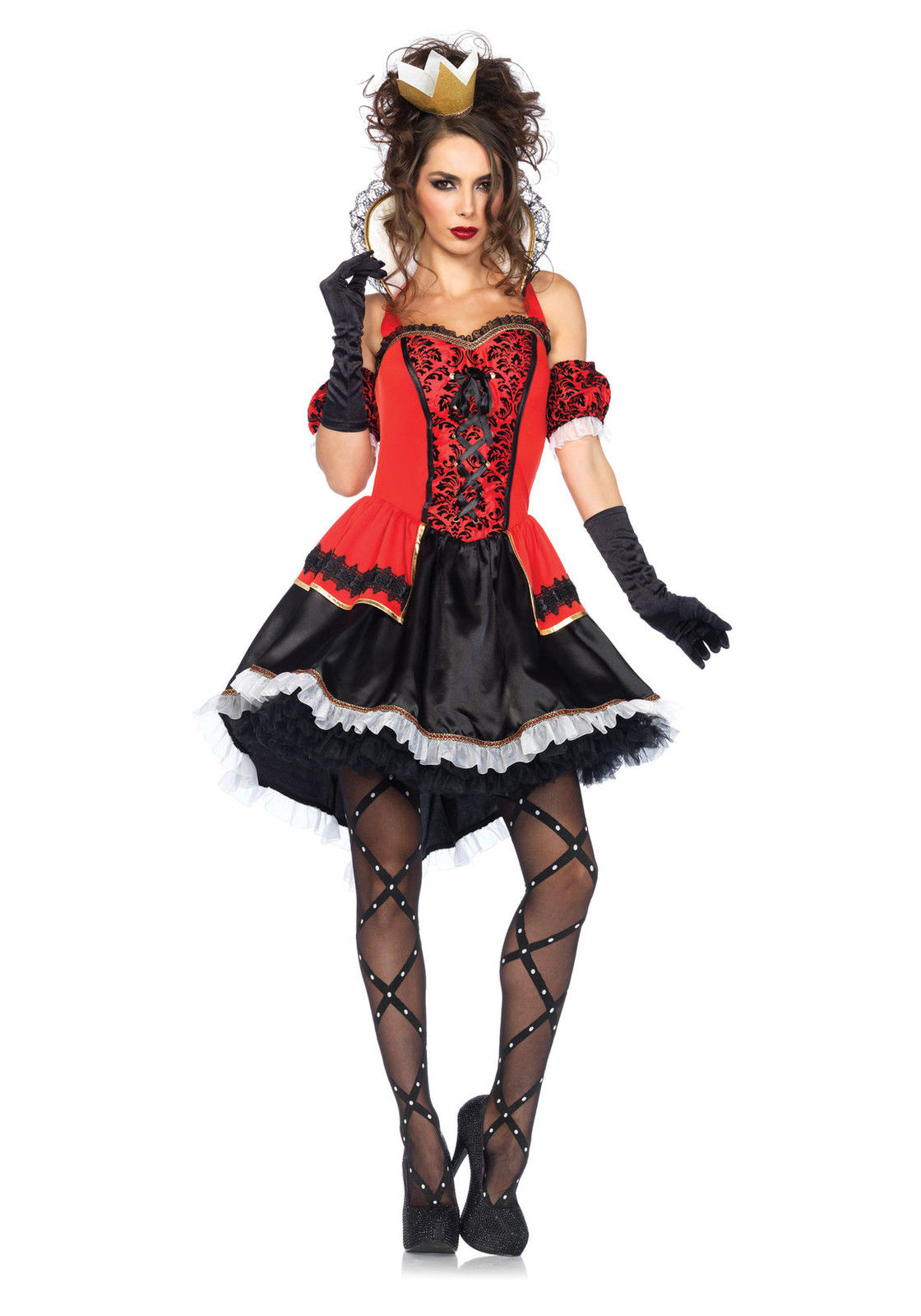 womens royally sexy queen of hearts halloween costume dress crown arm puff set