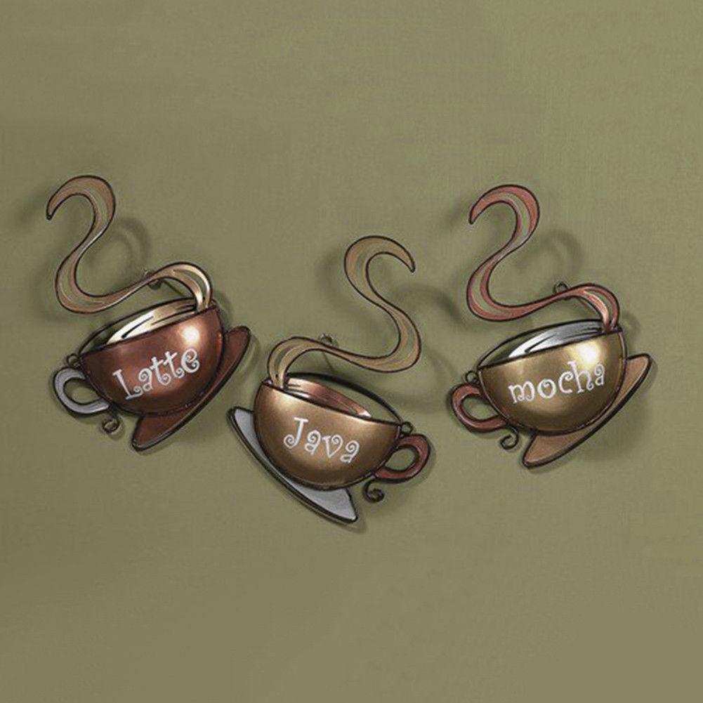Coffee House Cup Home Decor Metal Wall Art Latte Mocha Java Kitchen Decor Ebay