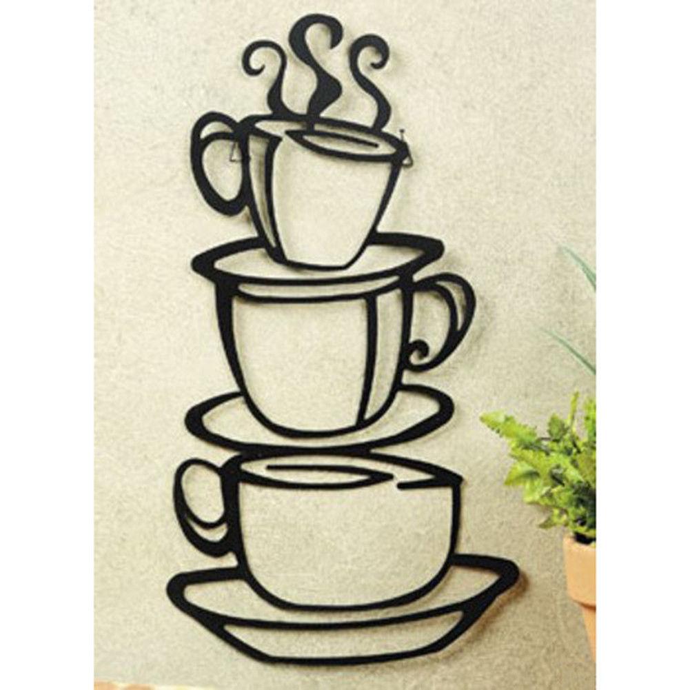 Metal Coffee House Cup Silhouette Wall Art
