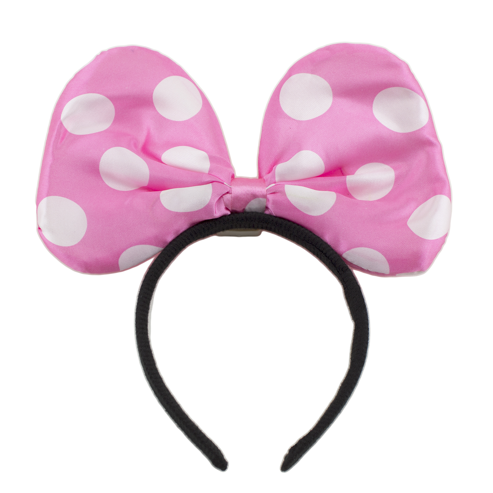 Minnie Mouse Pink Ears Light Up Led Polkadotted Bow Headband Costume