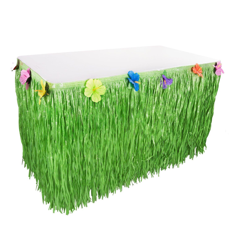 Hawaiian Luau Green Artificial Grass 9ft Hula Table Skirt Silk