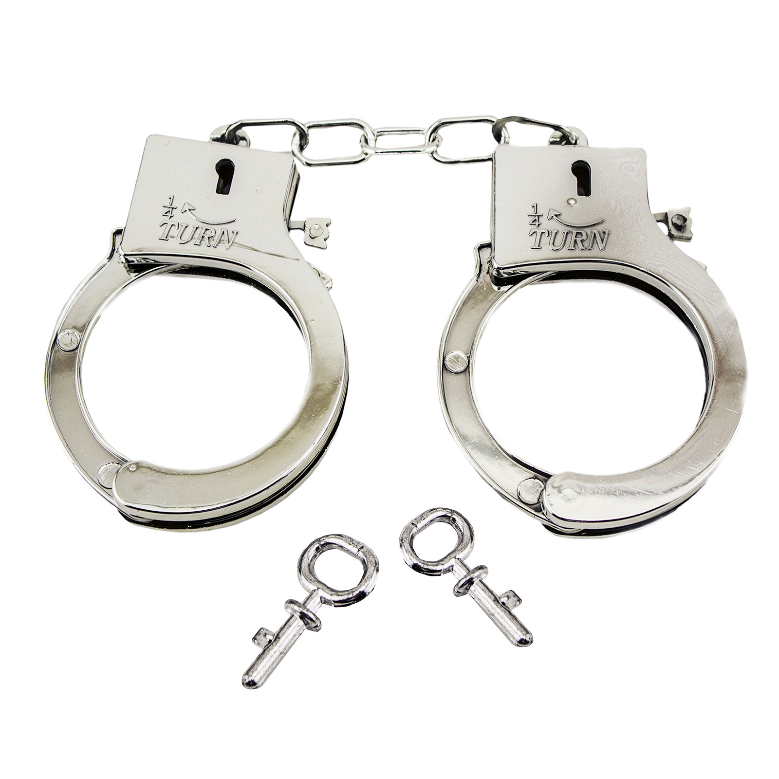plastic silver toy police cowboy handcuffs with keys halloween prison sheriff costume accessory part
